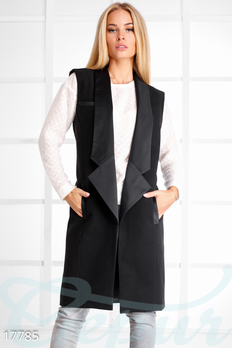 Elongated cashmere vest Black 17785