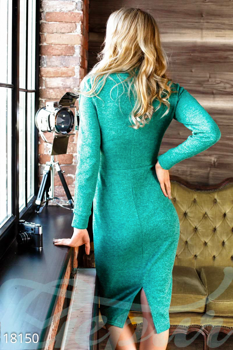 Stylish knitted dress Green 18150