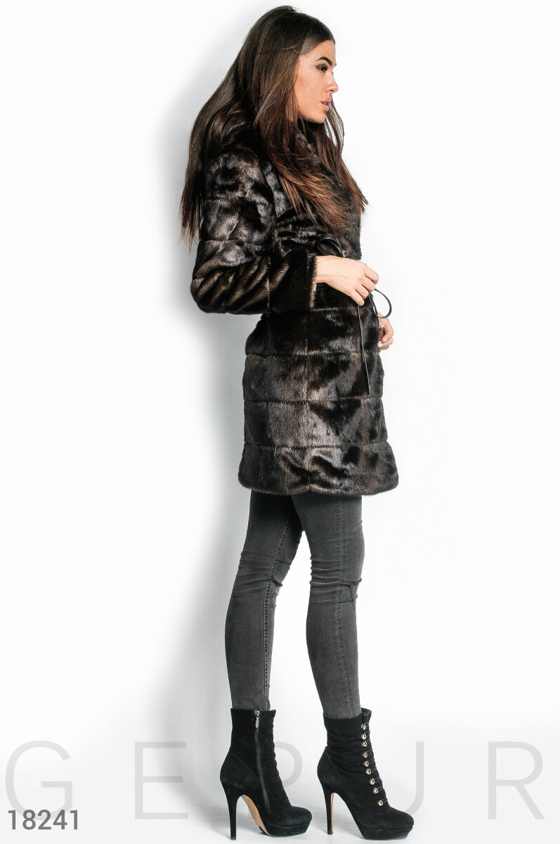 Coat with hood Brown 18241