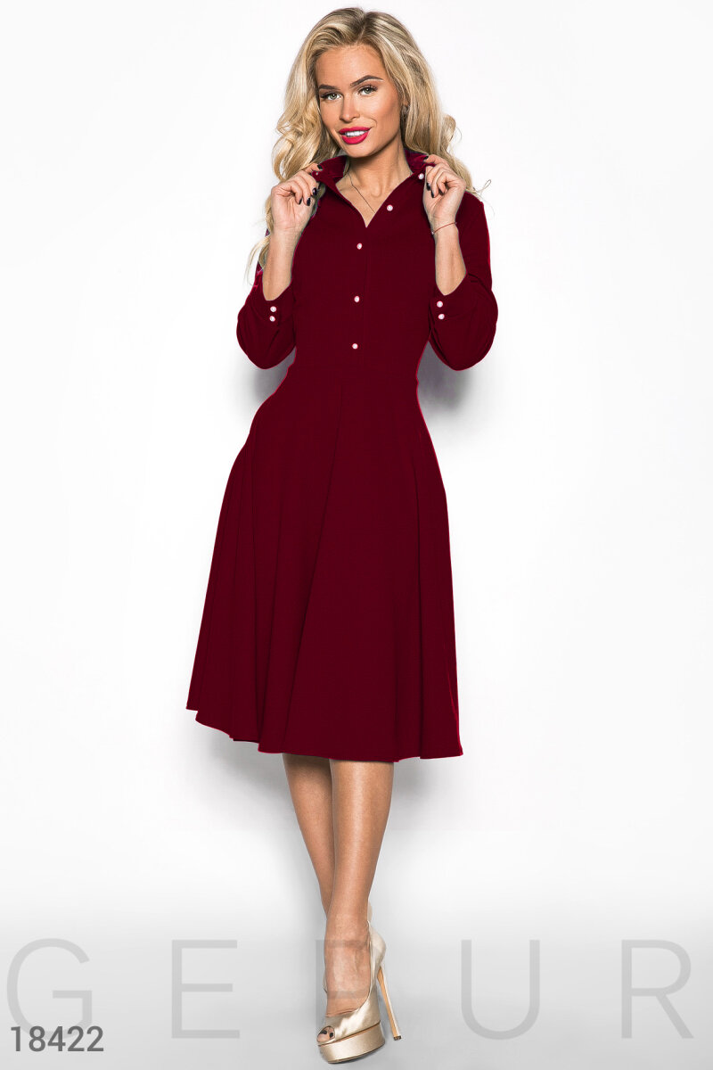 Feminine dress-flared Red 18422
