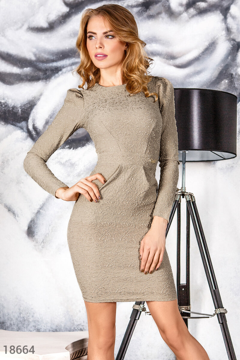 Knit sheath dress Beige 18664