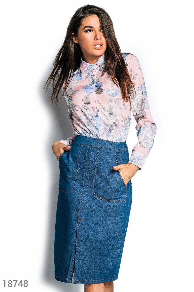 Высокая джинсовая юбка