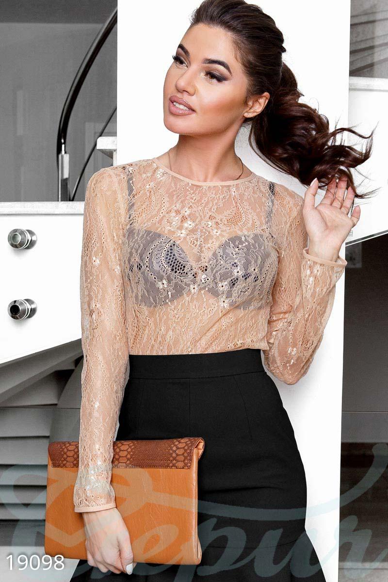 a635ebccd29 Вечерняя блуза от дизайнеров Gepur с эластичной вставкой на рукавах и  горловине