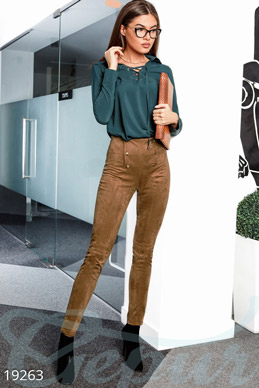Elegant suede leggings photo 1