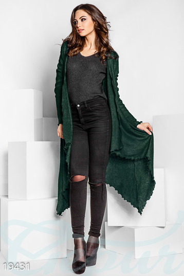 Asymmetric wool cardigan photo 1