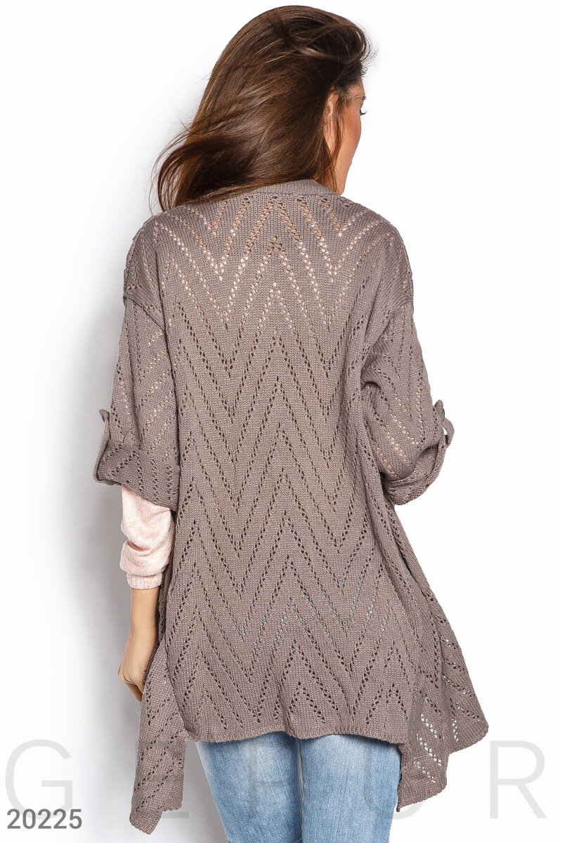 Knitted pointelle cardigan Beige 20225