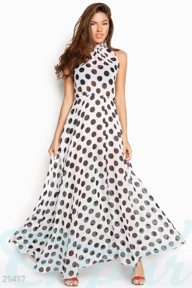 8bbc56d9f42 Шифоновое платье в горошек - купить оптом и в розницу