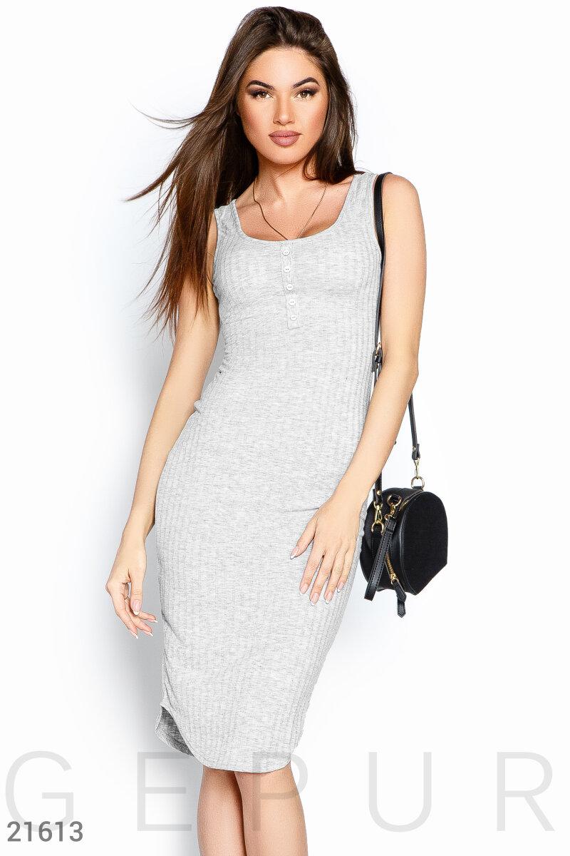 Летнее платье в рубчик
