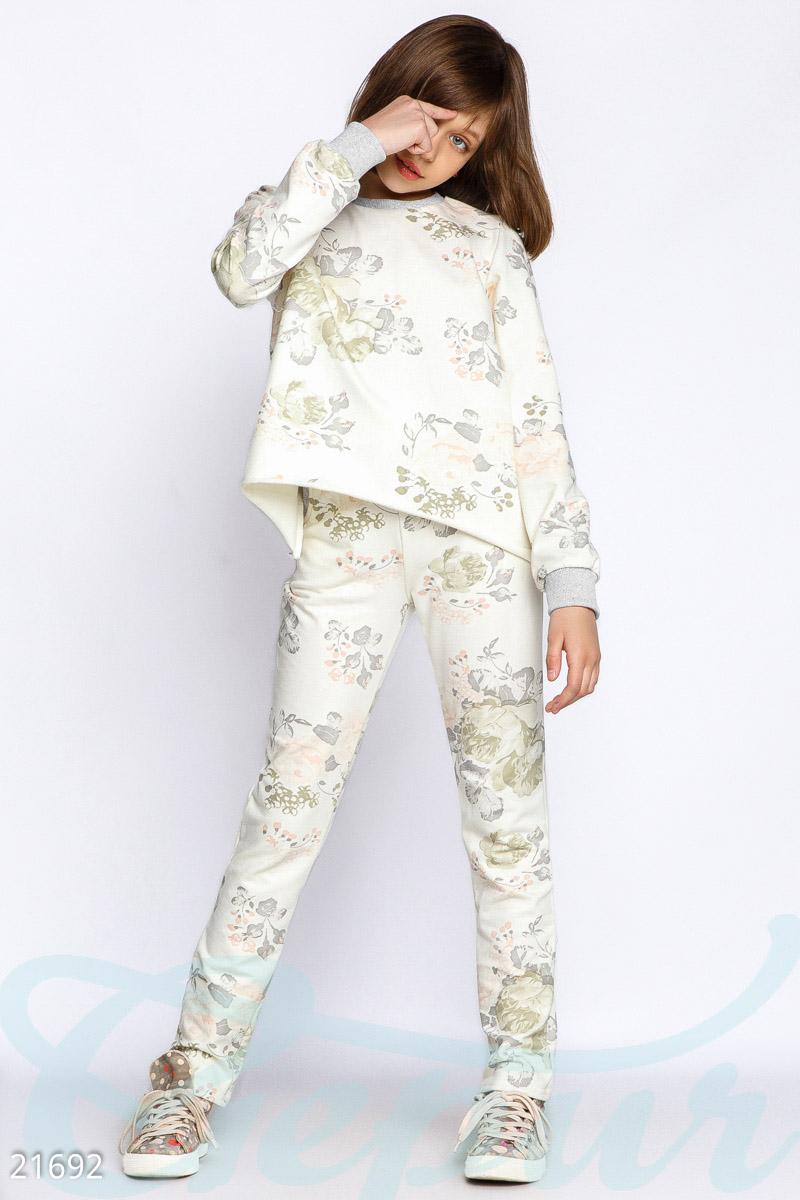 cfe3b2a42608 Спортивный костюм-двойка для девочек с цветочным принтом  кофта свободного  кроя с длинным рукавом, эластичными элементами и необработанными швами, ...