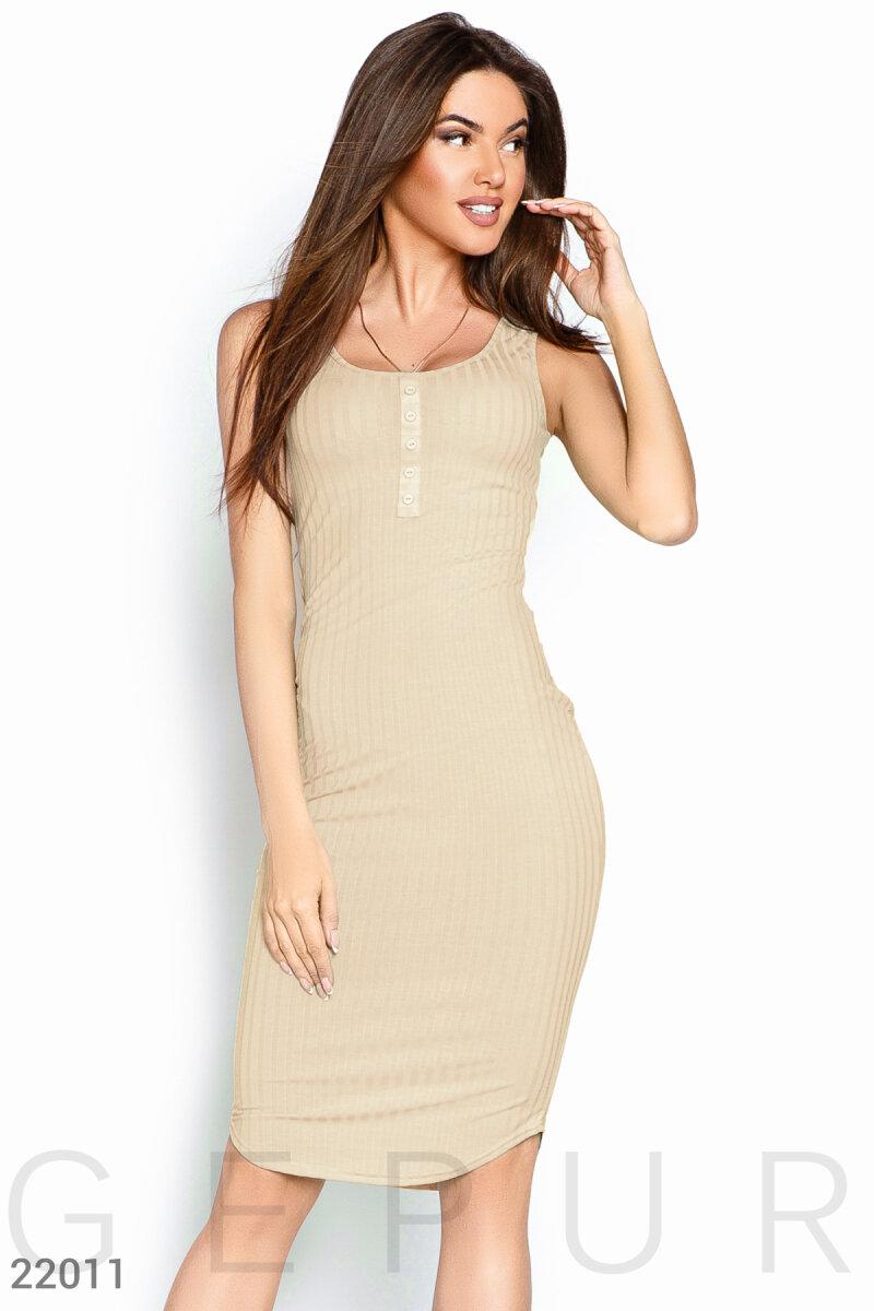 Летнее платье рубчик