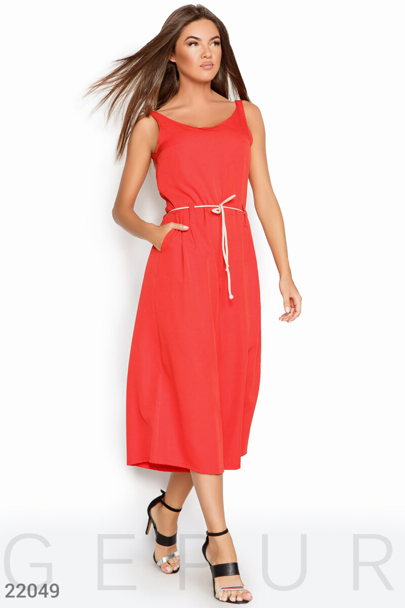 Summer jumpsuit culottes Red 22049
