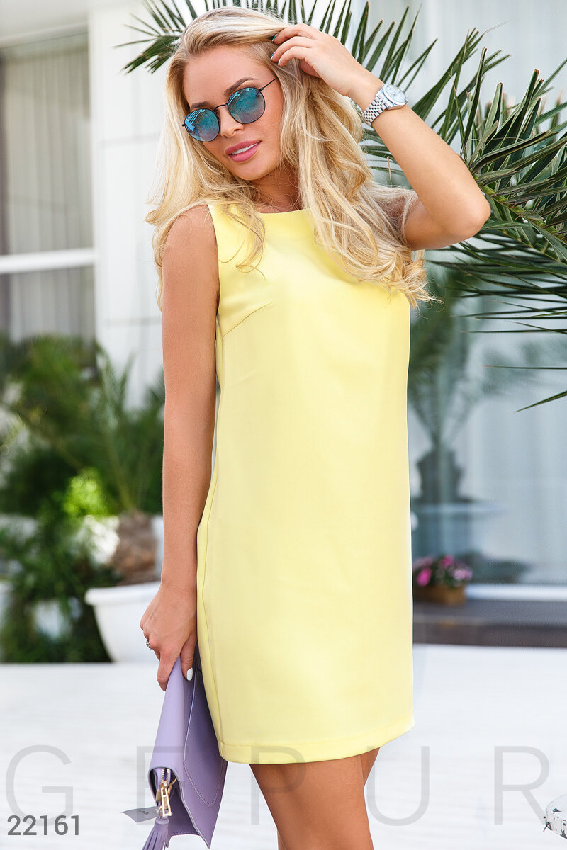 Concise a-line dress Yellow 22161