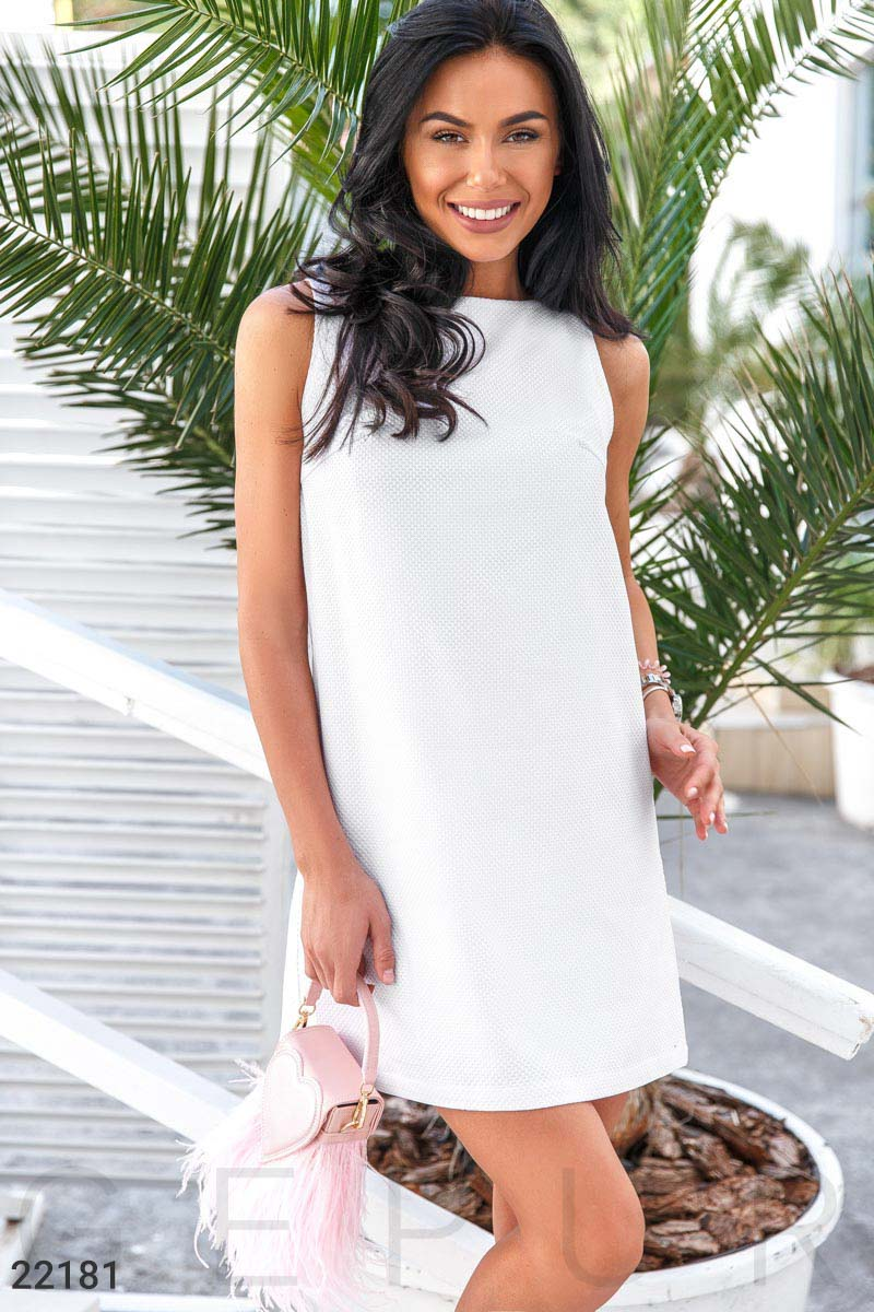 Solid trapeze dress White 22181