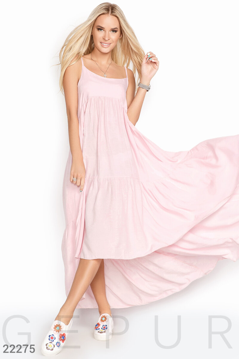 Summer asymmetrical sundress Pink 22275