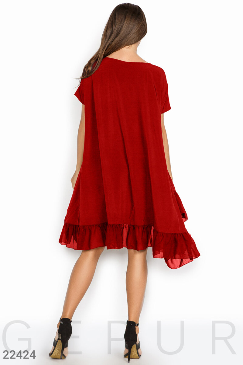 Loose silk dress Red 22424