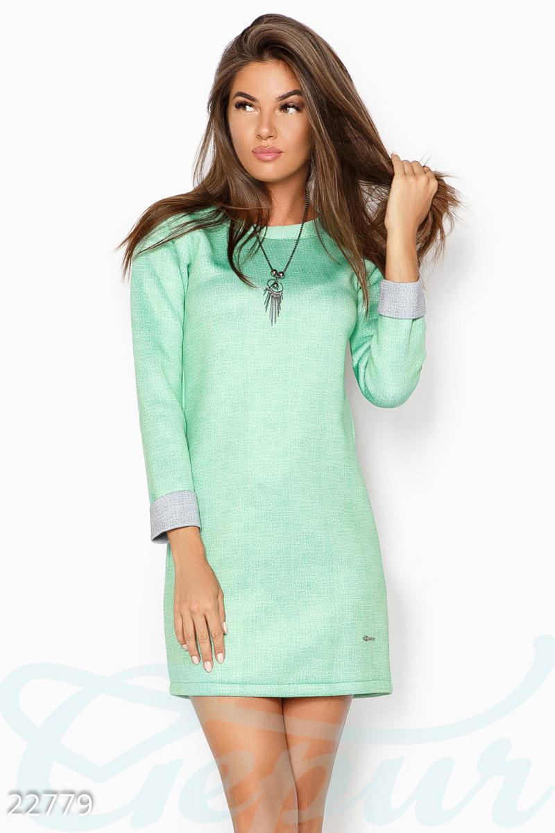 Gepur   Платье из неопрена арт. 22779 Цена от производителя, достоверные  описание, отзывы, фото , Цвет  зелено-серый 81b32a97247