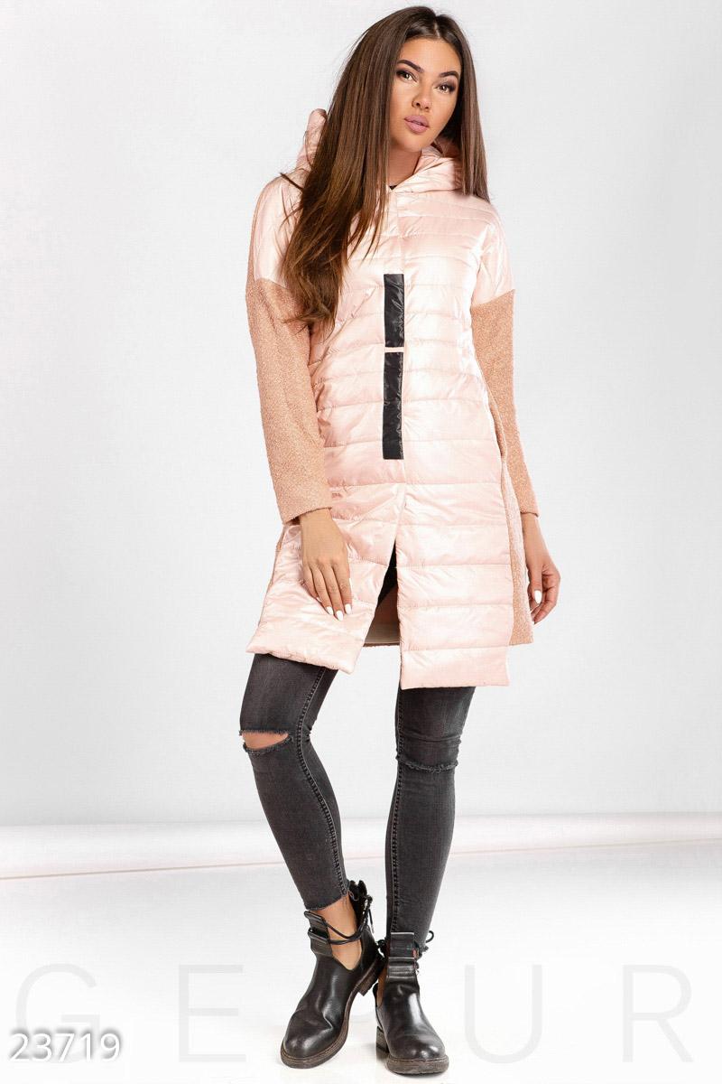 9335ac7df6ef Демисезонное комбинированное пальто на синтепоне (150) со вставками из  букле  спущенный рукав без манжет, удлиненный подол спереди, два кармана в  швах, ...