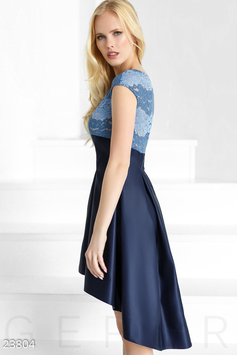 Satin cascading dress Blue 23804