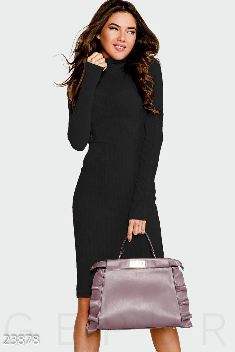 bb2e0bf08fe Облегающее платье в рубчик с высокой горловиной и длинным рукавом с  митенками.