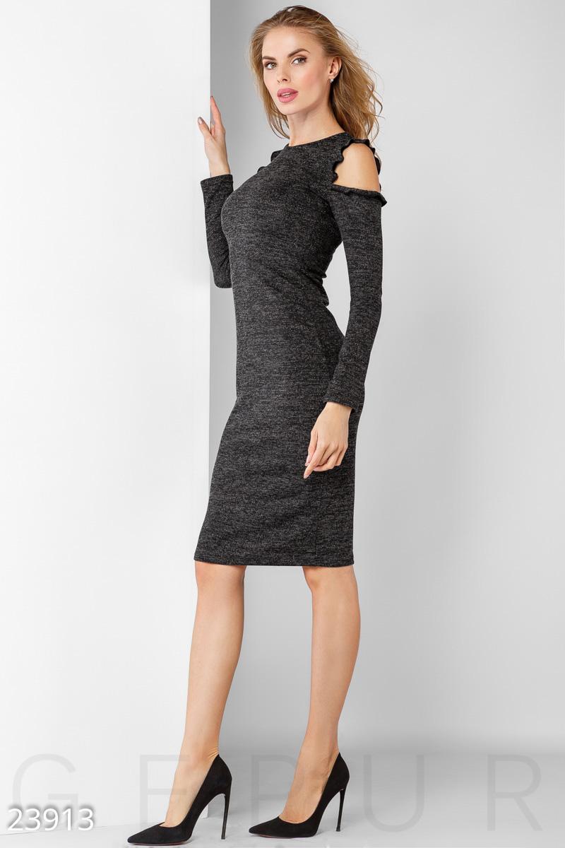 3b7ae5ae8b1 Женское облегающее платье из мягкой ангоры с нитью люрекса