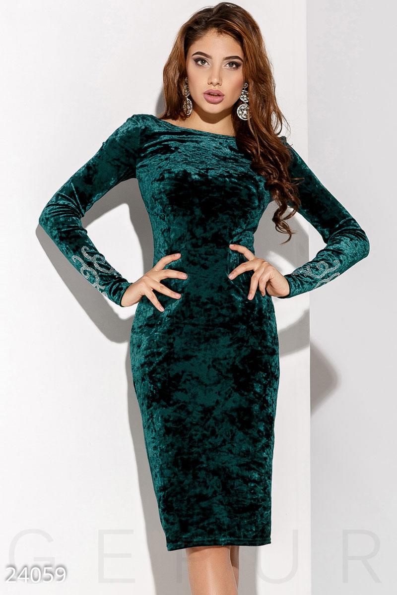 879cce15a893f24 Бархатное платье с камнями - купить оптом и в розницу | GEPUR