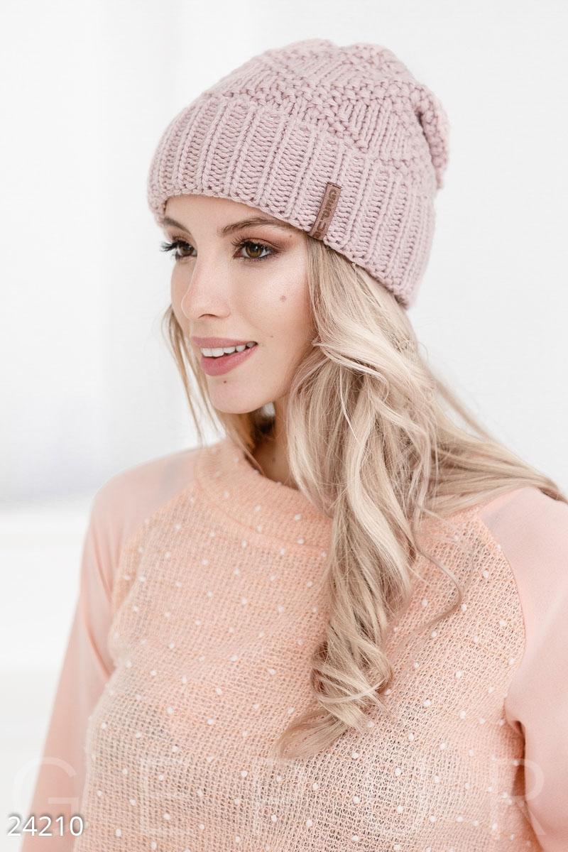 Жіноча зимова шапка-біні великої в язки  широкий підворот і м яка підкладка  з виворітного боку. 2b43f6f0ccfb6