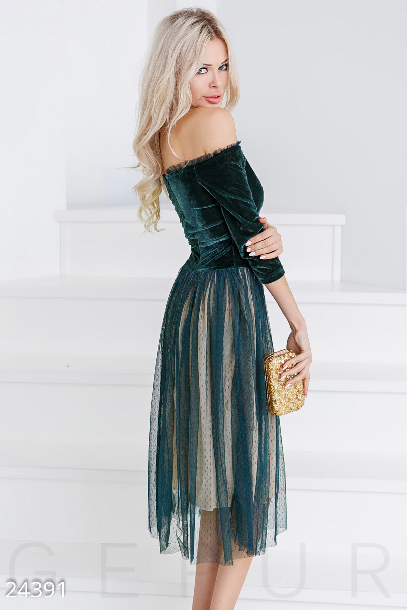 Two-tone velvet dress Green 24391
