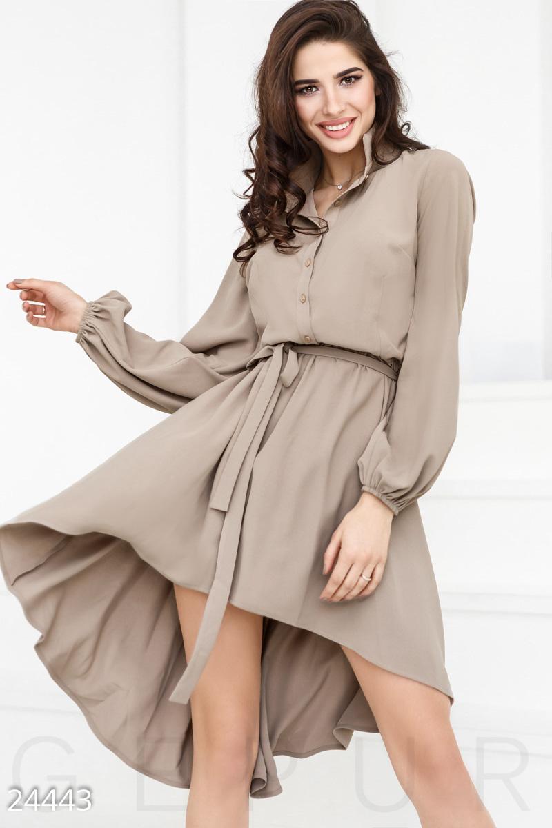 a9312c2e3236d60 Женское праздничное платье, выполненное из тонкой костюмной ткани: длинный  рукав-фонарик с резинкой, классический отложной воротник, кокетка на  пуговицах, ...