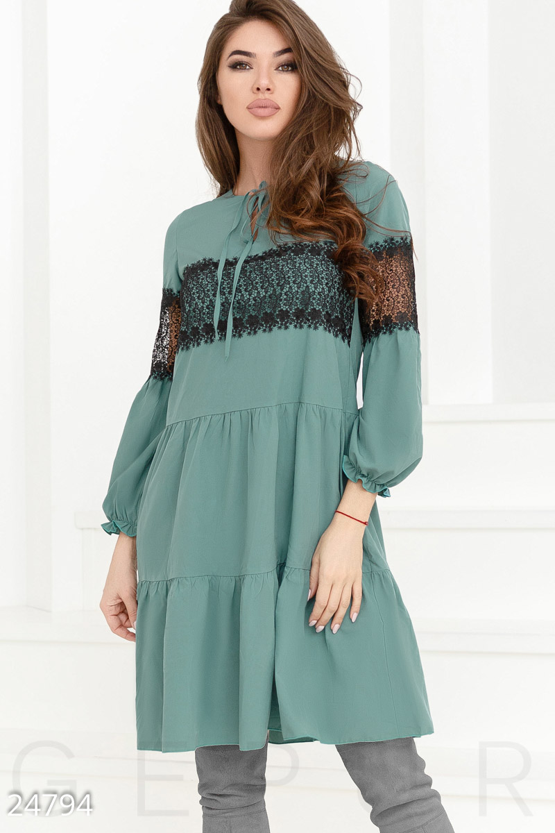 Romantic tiered dress Green 24794