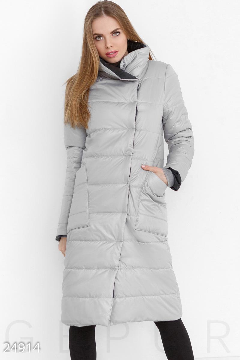 318f965366a Зимнее пальто из плащевой ткани с воротником-стойкой