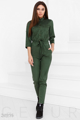 Women's suede jumpsuit photo 1