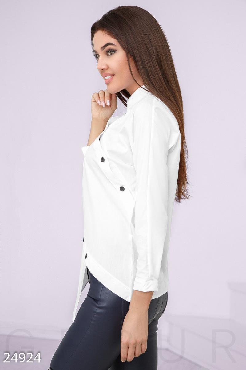 8011b55593a Оригинальная женская рубашка асимметричного кроя  классический воротник со  стойкой