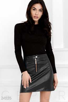 Leather a-line skirt photo 1