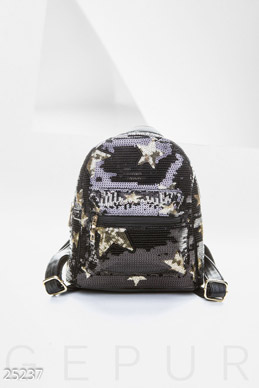 Backpack with sequins  photo 1