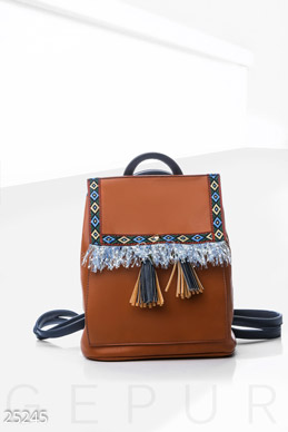 Leather backpack ethnic  photo 1