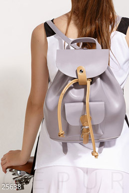 Contrast leather backpack photo 1