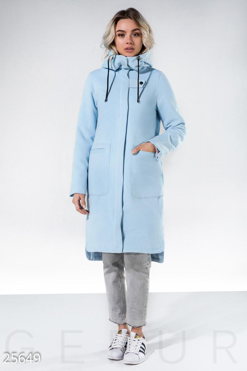 ceaa8eeafa6 Демисезонное женское пальто спортивного кроя  удобный капюшон с завязками  на кулиске