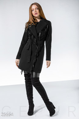 Cashmere coat fringe photo 1