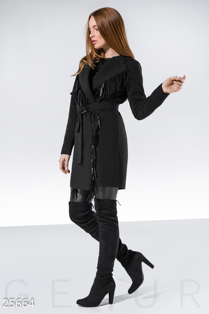 Coat with fringe Black 25664