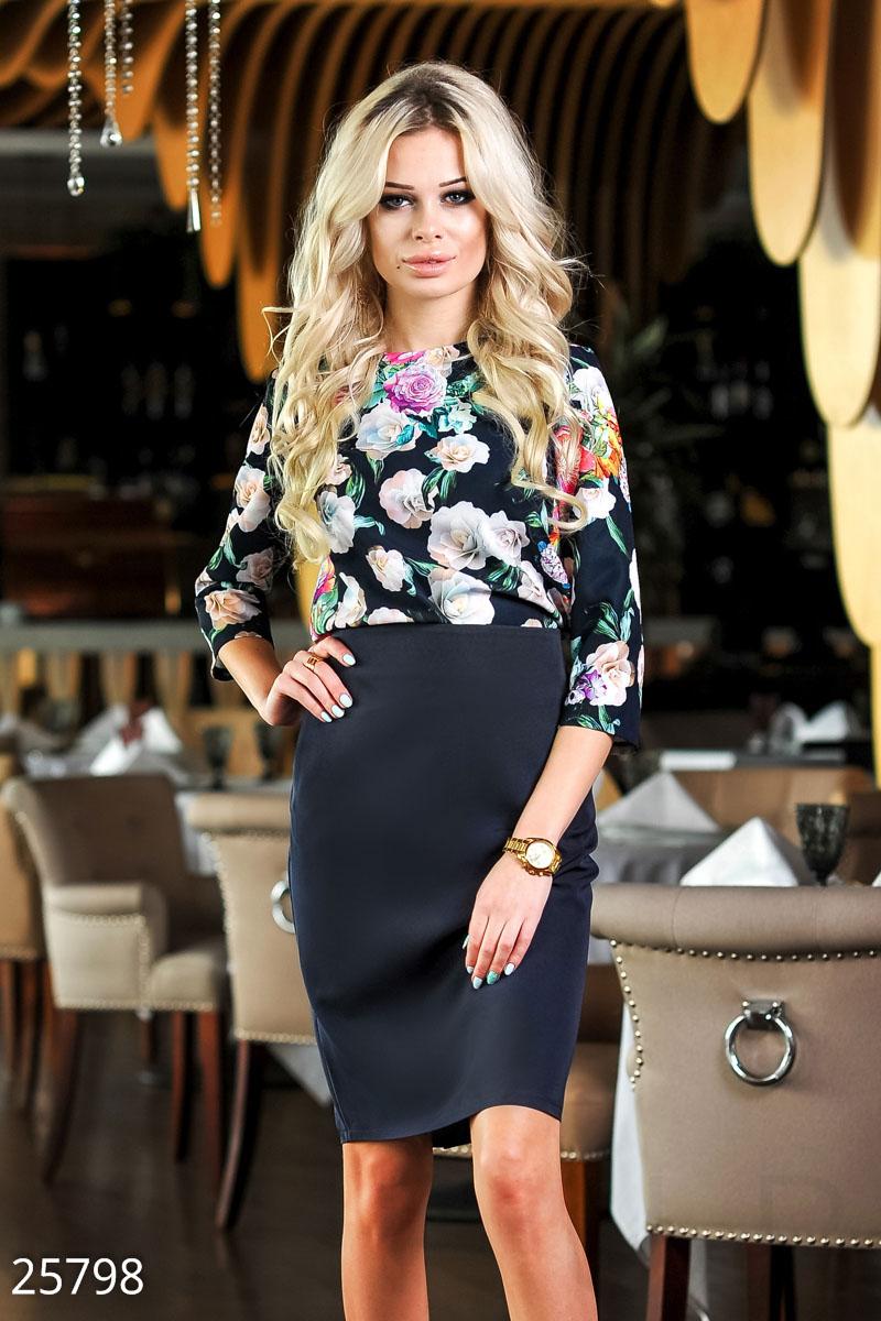 448af6dcb7a Элегантный женский костюм  укороченная блуза с цветочным принтом и рукавом  3 4