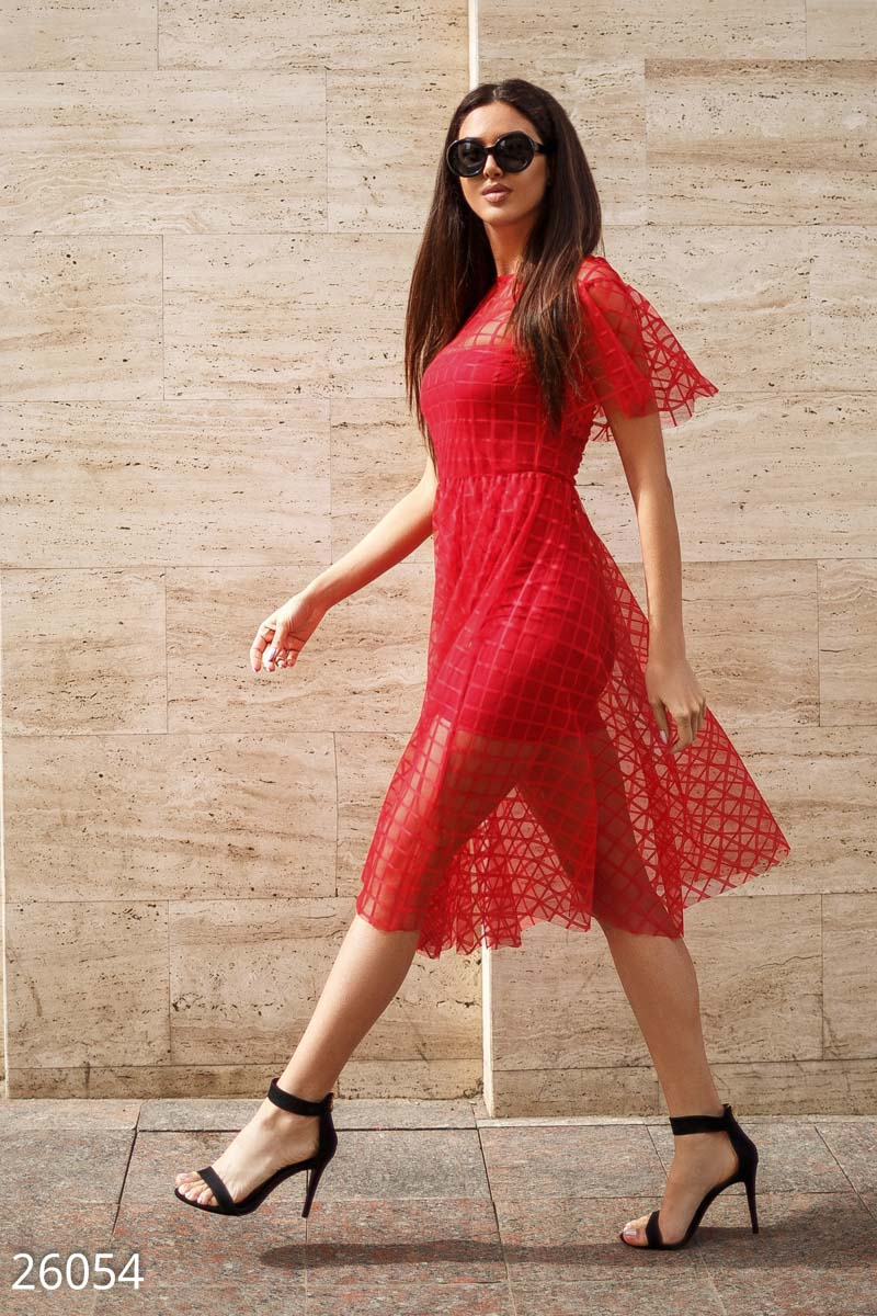 Swing dress with mesh Red 26054