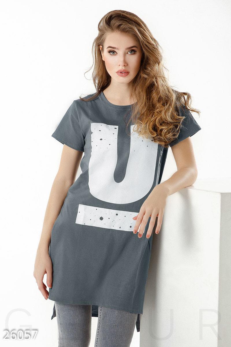 Контрастная футболка-туника
