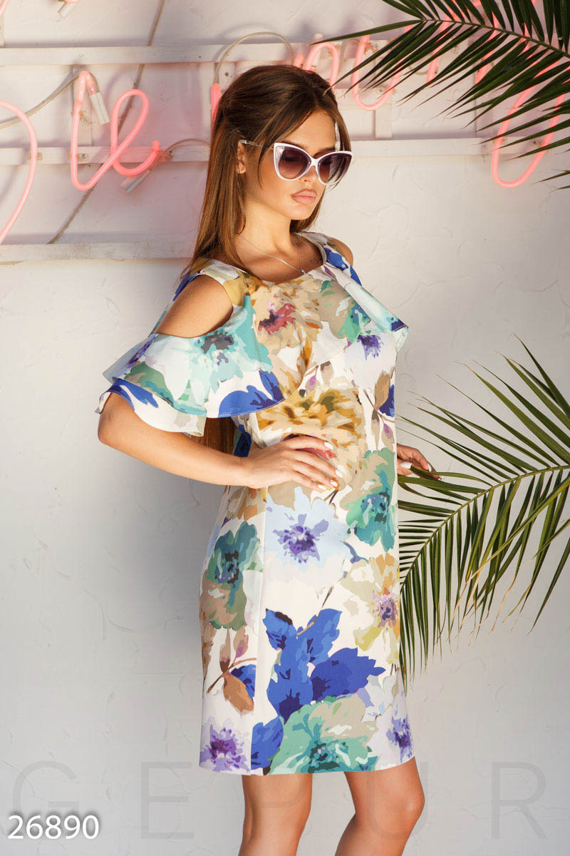 Summer dress watercolor White 26890