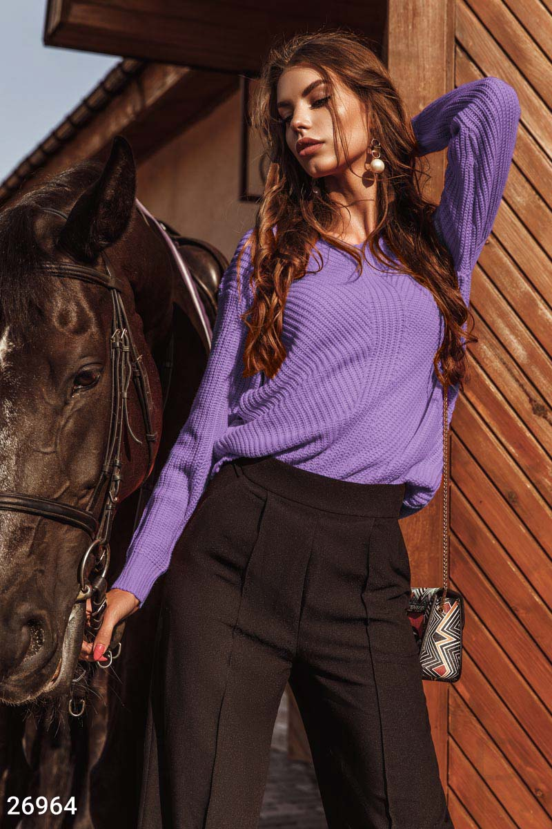 Stylish knitted pullover Purple 26964