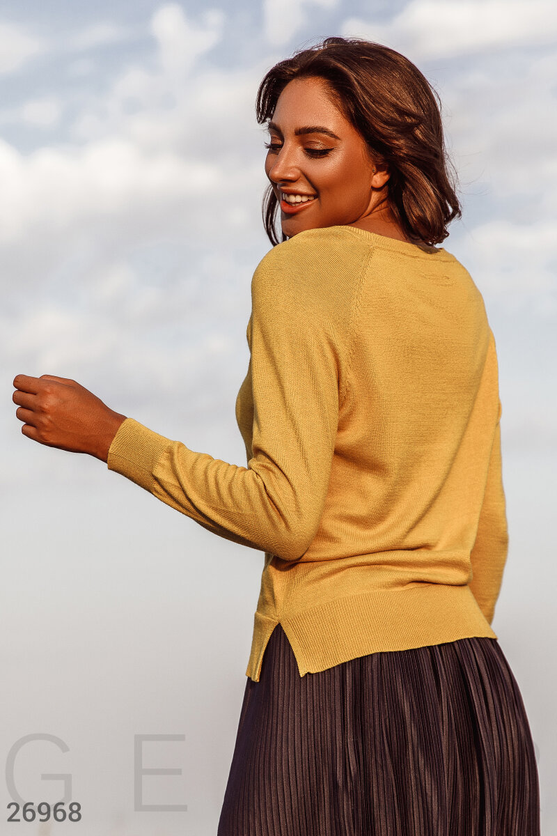 Basic women's cardigan Yellow 26968