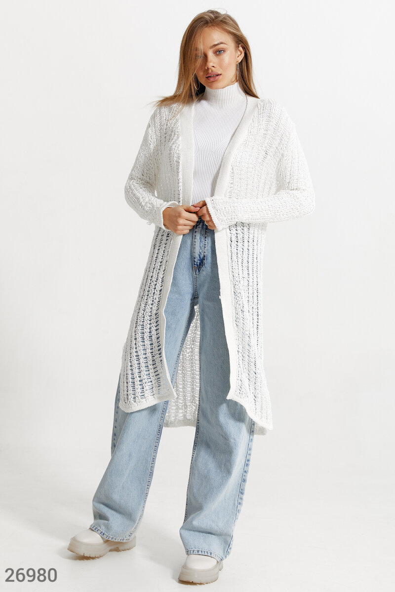 An elongated openwork cardigan White 26980
