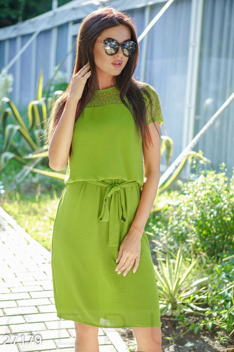 Airy summer dress Green 27179
