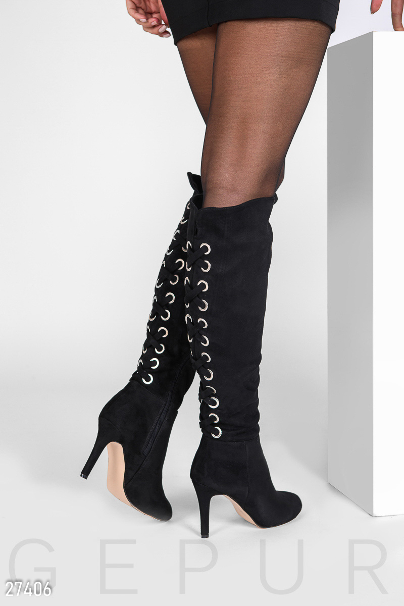 Boots with lacing Black 27406