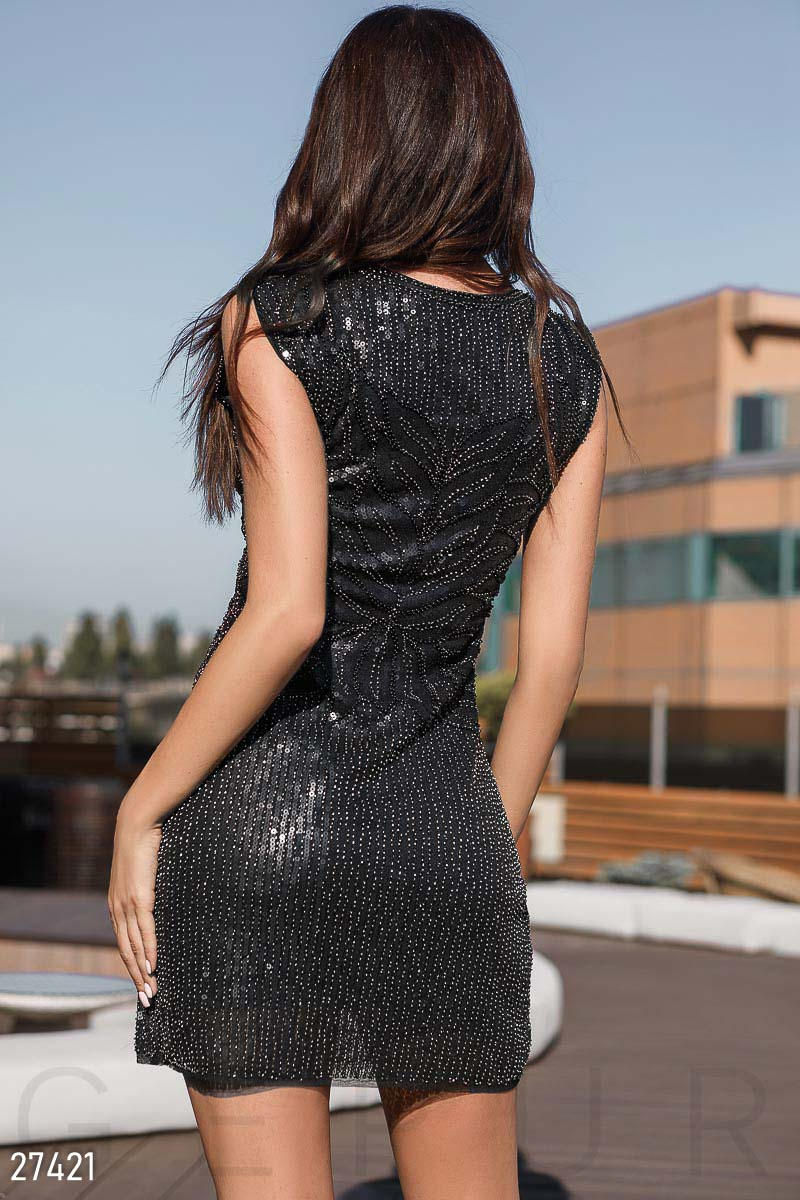 Bodycon dresses-beads Black 27421
