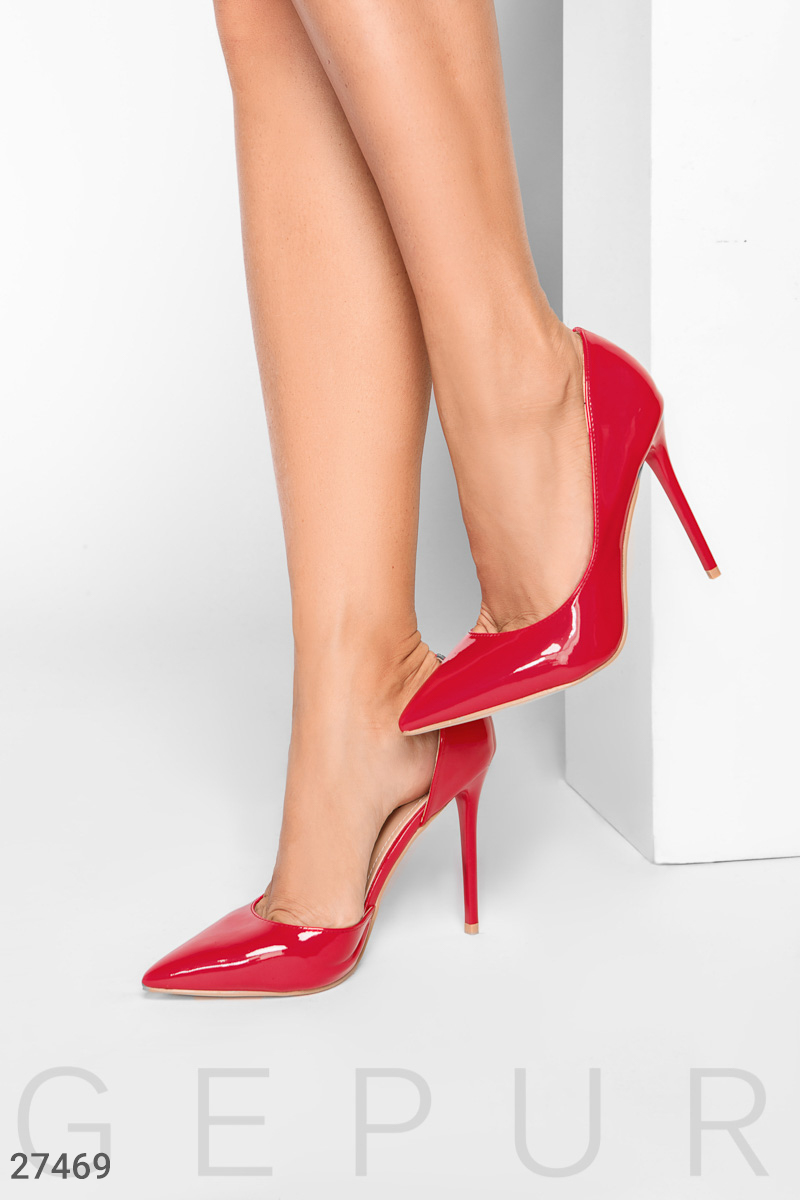 Bright patent leather shoes Red 27469